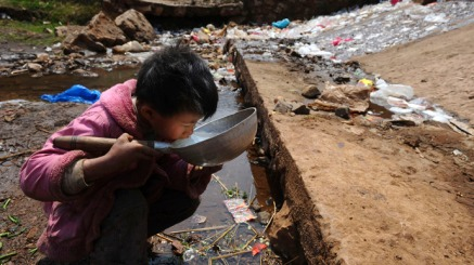 A boy drinks from polluted water in Fuyuan county © Reuters
