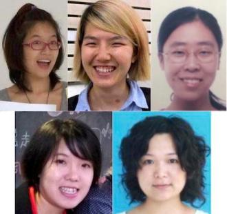 The 5 activists detained for wanting to campaign against sexual harrassement. Image via Chinese Human Rights Defenders on Twitter.