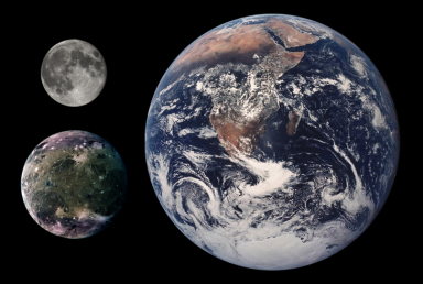The Moon (top-left corner), Ganymede, the Earth (on the right). Source: NASA