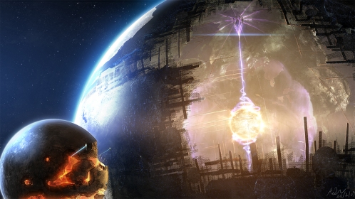An artist's view of a Dyson sphere with its moon used for raw material (on the left side). Image © Adam Burn, via FantasyWallpapers.com
