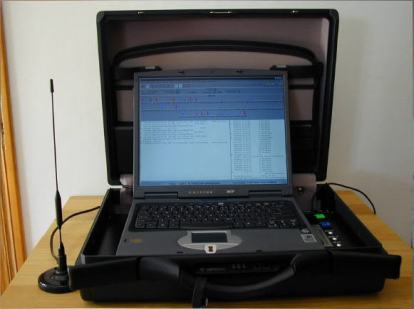 "An IMSI catcher (above) is comprised of ""a laptop, hard drive (to handle the encryption tables), and a cell phone or commercial cell radio with an external antenna"". Image via ccpc2008.blogspot.fr"