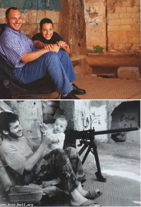 Ali Rida with his son Hassan on the demarcation line in Beirut, in 1989 and 2002. Image © Zaven Kouyoumdjian, via Hummus for Thought