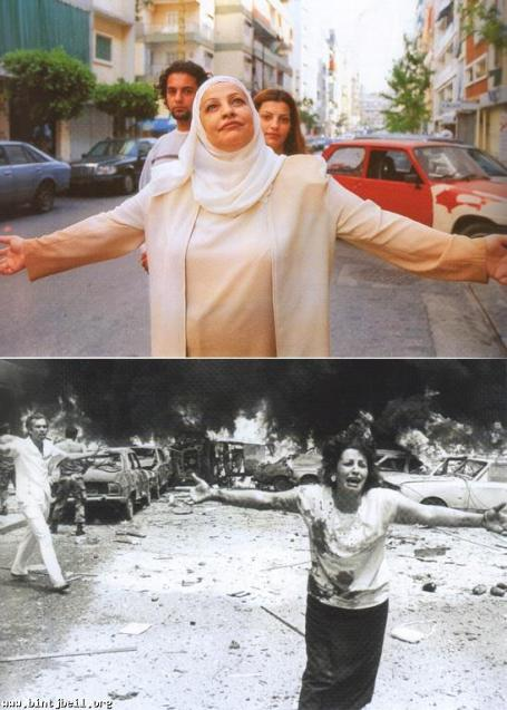 August 2002: Samira Bou Chnak and children Khaled and Farah in Beirut. August 1986, same location: Samira Bou Chnak searching for her children after a car explosion.  Image © Zaven Kouyoumdjian, via Hummus for Thought