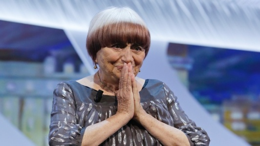 Agnes Varda at the closing ceremony of the 2015 Cannes Festival, where she was awarded a honorary Palme d'Or for her filmmaking career. ©AP