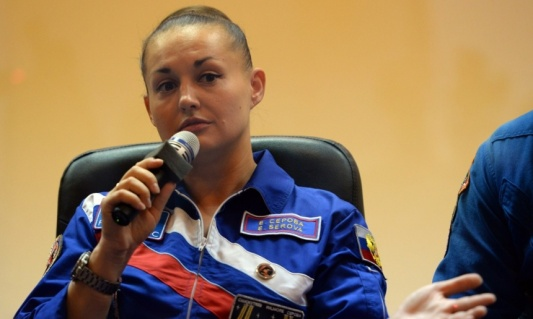 "Yelena Serova is an engineer who became the first Russian women to visit the ISS. In a press conference she gave in September 2014, most of the journalists' questions revolved around her daughters, and one journalist asked her how she would be styling her hair in zero gravity. Her reply? ""Aren't you interested in the hairstyles of my colleagues?"".  Photograph ©Vasily Maximov/AFP/Getty Images"