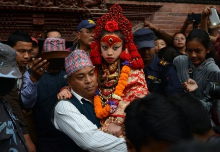 The Kumari Devi in March 2015. Image ©Prakash Mathema/AFP/Getty Images.