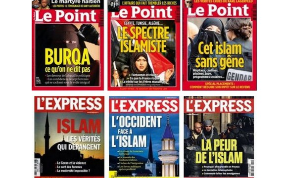 "Sample treatment of the theme of Islam in two prominent French magazines (""Burqa: what we are not telling"", ""The islamist specter"", ""The West against Islam"", ""Fear of Islam"", …). Image via L'Obs."