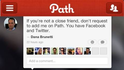 Path allows sharing to a restricted audience. Image via TheGlobeandMail.com