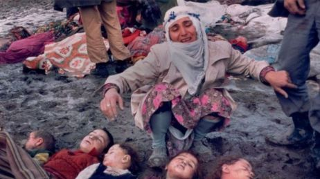 A woman cries over children murdered during the Sabra and Shatila massacre of 1982. Image via Whatsupic.