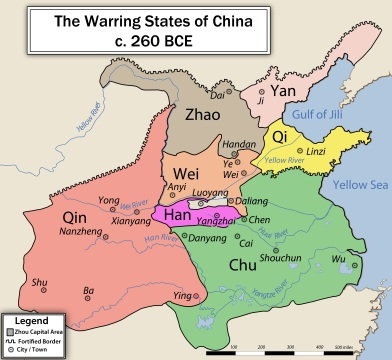 The Warring States during the 3rd century BC. The state of Qin, which was to unify China, is the most western one on the map.