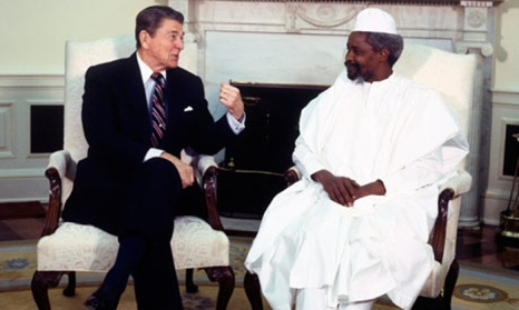 Former Chadian dictator Hissène Habré is welcomed by Ronald Reagan at the White House in 1987. Photo © Jean-Louis Atlan/Sygma/Corbis