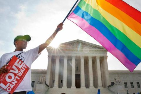 In front of the US Supreme Court on Friday. Image © Associated Press via US News.