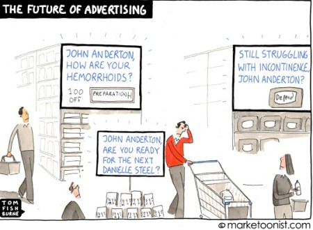 What a world of beacons and customer profiling may look like. Comic by Tom Fishburne via ©marketoonist.com