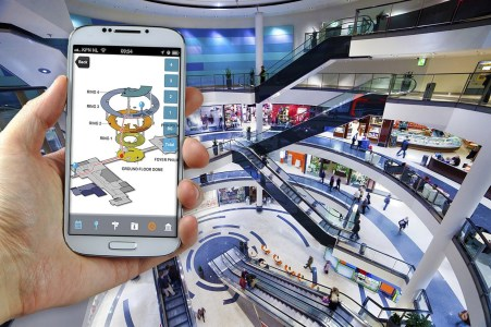 With a mall's app on your phone, you can find your location, and the mall management can find yours. Photo CSR via www.csr.com