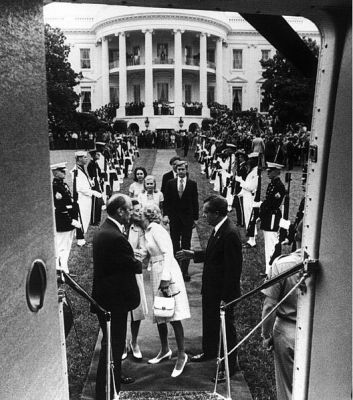 Richard Nixon departing the White House after resigning. Public domain.