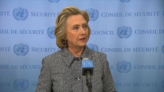 Clinton during the 10 March, 2015 UN press conference. Image © ABC News.