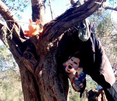 An abandoned jacket and a teddy bear hang on a tree outside Moria migrant camp, Lesbos. ©Lida Filippakis