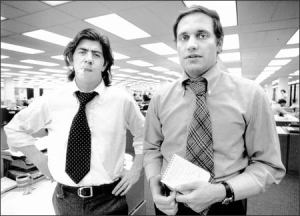 Woodward & Bernstein are sorry you still think journalism has a future, and frankly they're a little disappointed in you. Image via TimesUnion.