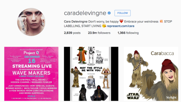 Screencap of Cara Delevingne's handle on Instagram