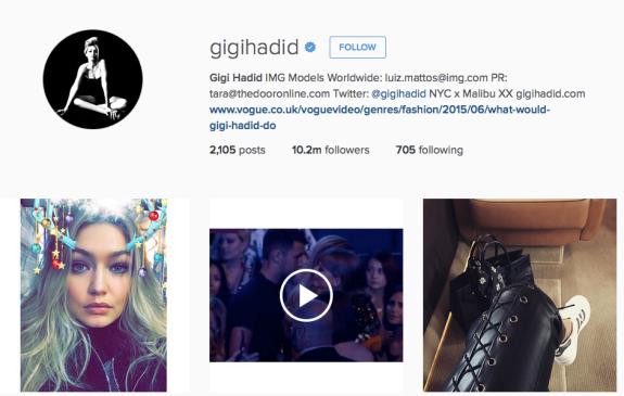 Screencap of Gigi Hadid's handle on Instagram