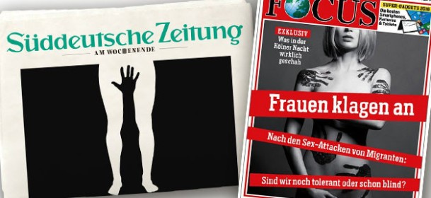 Covers of the german magazines Focus and Süddeutsche Zeitung after the events in Cologne.